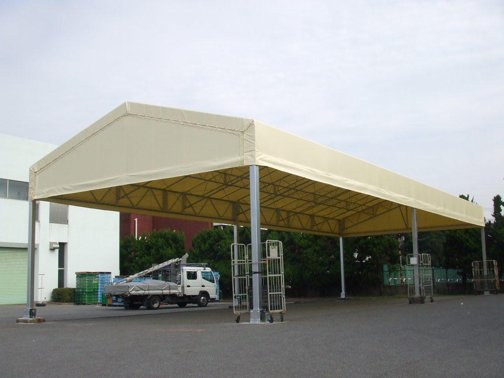 荷捌場テントN-9の施工写真2