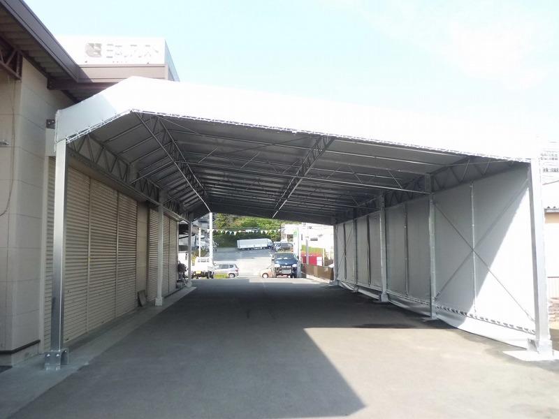 荷捌場テントN-6の施工写真3