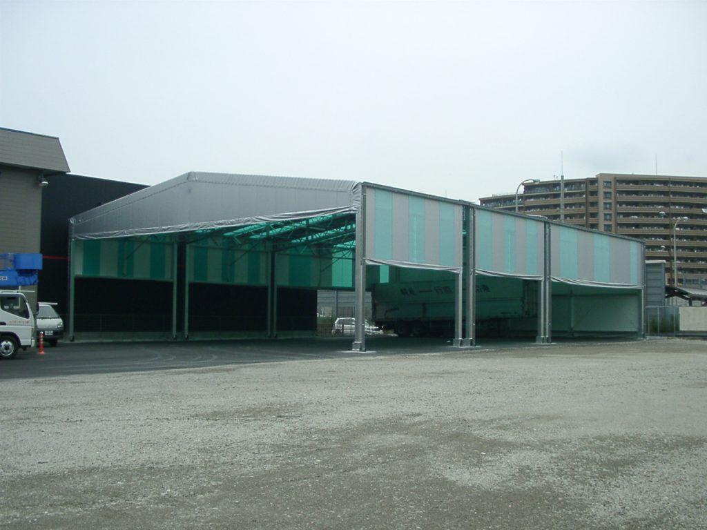 荷捌場テントN-2の施工写真4