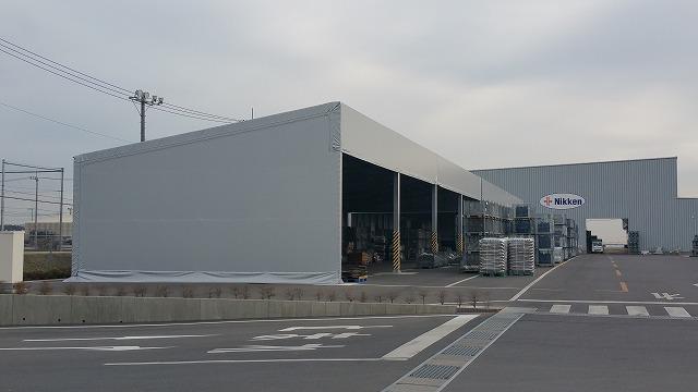 テント倉庫T-3の施工写真1