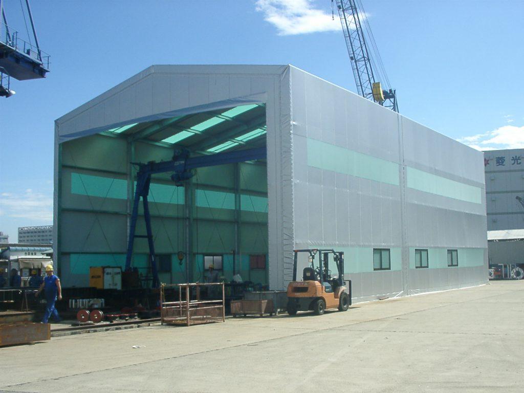 テント倉庫T-2の施工写真1