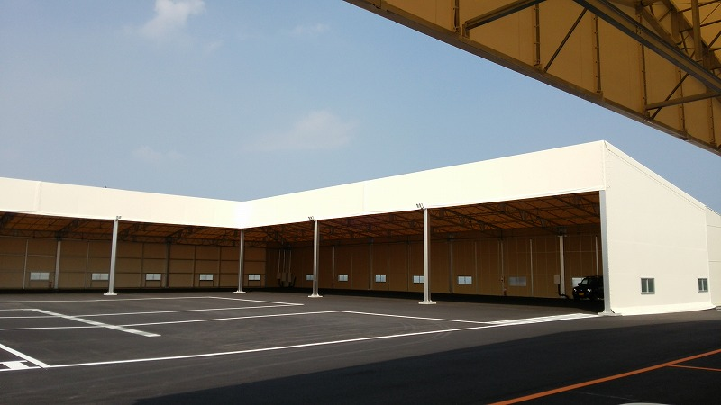 荷捌場テントN-6の施工写真4